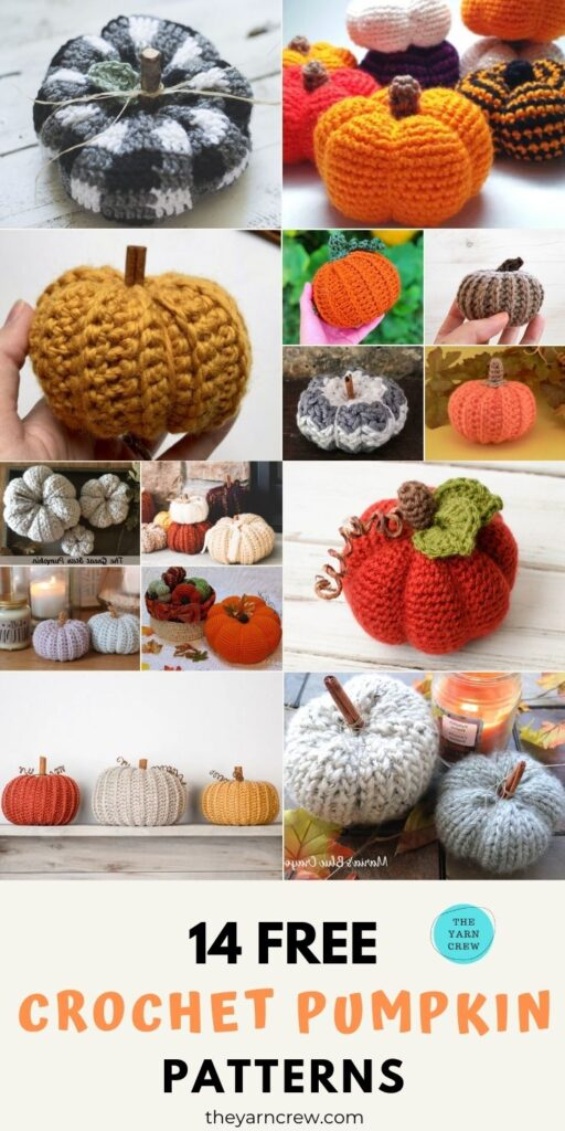 14 Free Amazing Farmhouse Crochet Pumpkin Patterns - Pin1