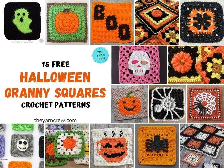15 Free Fantastic Halloween Granny Squares Crochet Patterns - FB Poster