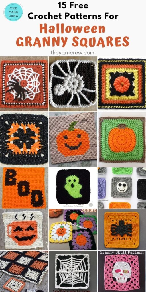 15 Free Spooky Halloween Granny Squares Crochet Patterns - PIN3