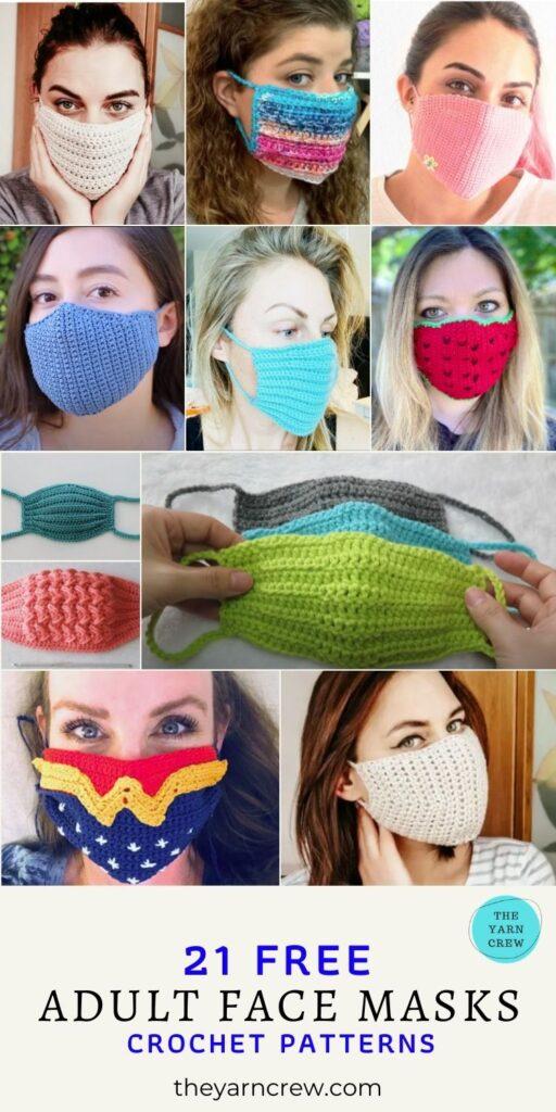 21 Free Adult Face Masks Crochet Patterns - Pin 3