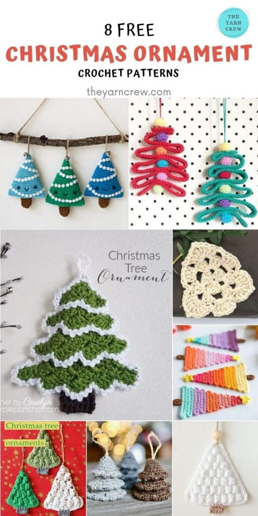 8 Christmas Tree Ornaments Free Crochet Patterns-PINTEREST3
