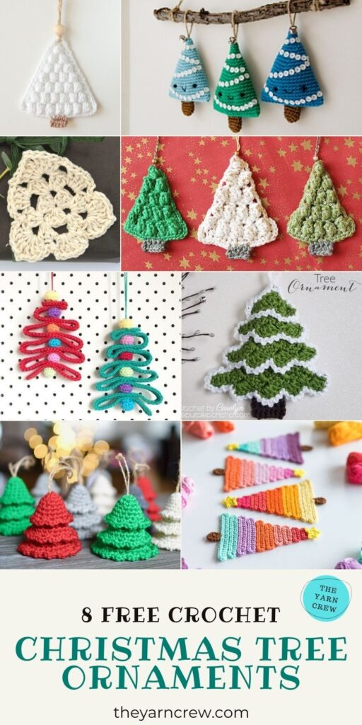 8 Cute Christmas Tree Ornaments Free Crochet Patterns-PINTEREST1