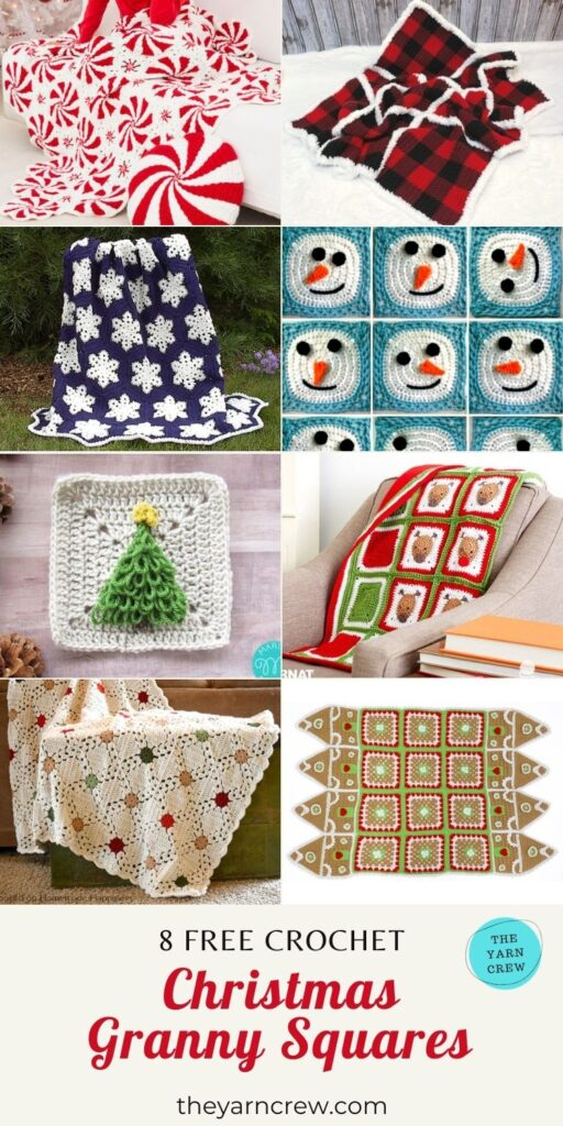 _8 Free Adorable Granny Square Christmas Blankets & Afghans - PIN1
