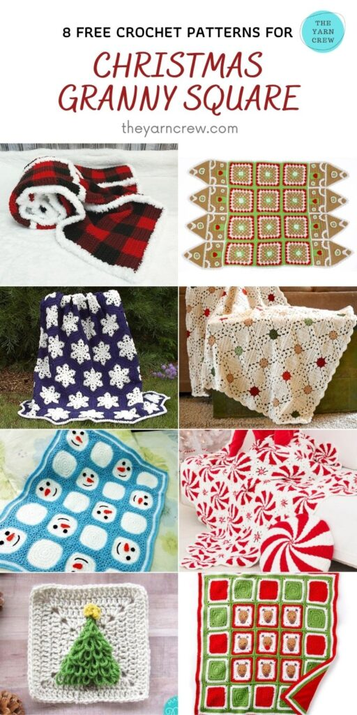 8 Free Amazing Granny Square Christmas Blankets & Afghans - PIN3