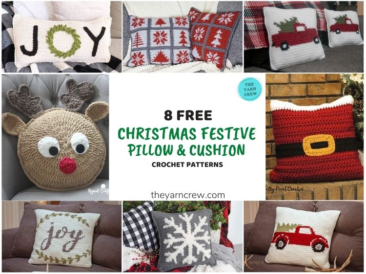 8 Free Christmas Festive Pillows & Cushions - FB POSTER