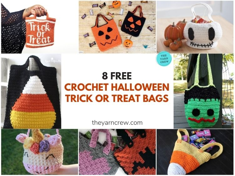 8 Free Crochet Halloween Trick Or Treat Bags - FB Poster
