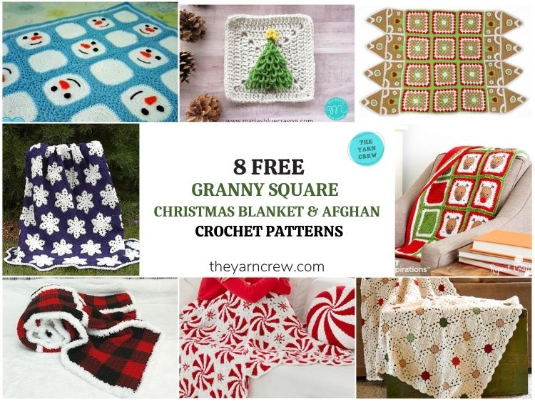 8 Free Granny Square Christmas Blankets & Afghans - FB POSTER