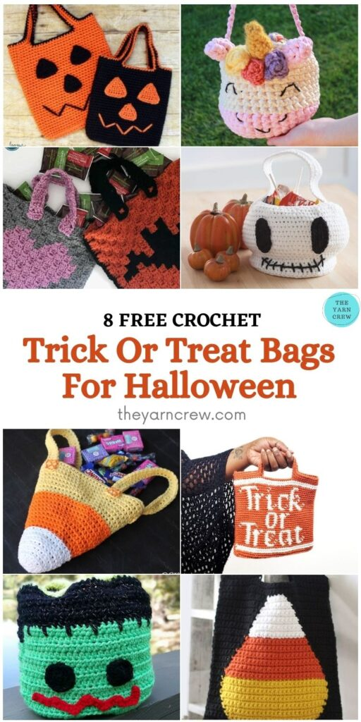 8 Free Scary Crochet Halloween Trick Or Treat Bags PIN 2