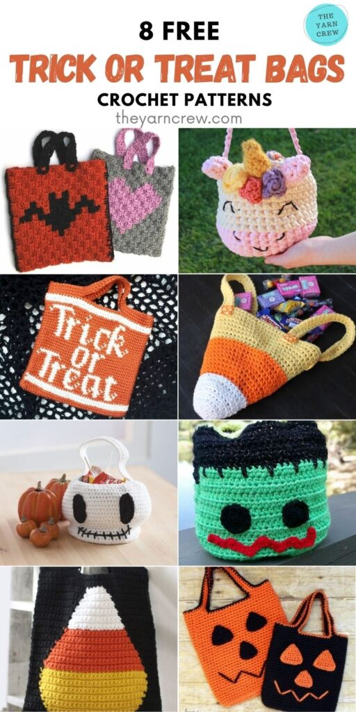 8 Free Spooky Crochet Halloween Trick Or Treat Bags PIN 1