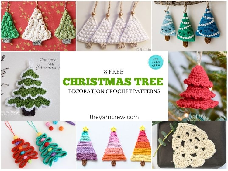 8 Lovely Christmas Tree Ornaments Free Crochet Patterns - FACEBOOK POSTER