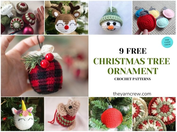 _9 Free Crochet Christmas Bauble Tree Ornaments - FB POSTER