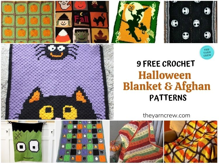 _9 Free Crochet Halloween Blanket & Afghan Patterns FB Poster
