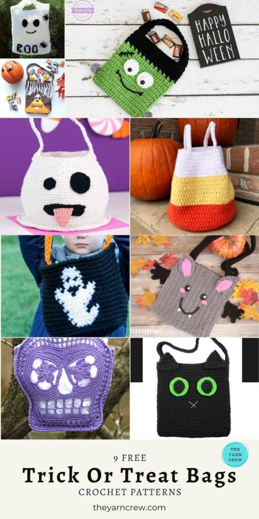 9 Free Cute and Adorable Trick Or Treat Bags Crochet Patterns - Pin 3