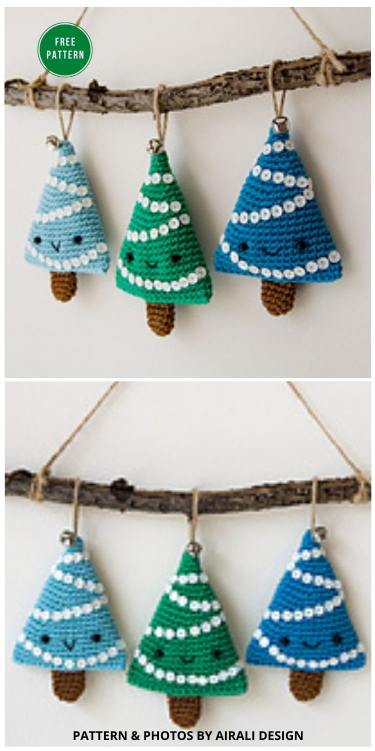 Alberelli Christmas Decoration - 8 Christmas Tree Ornaments Free Crochet Patterns