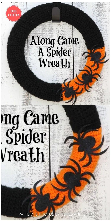 Along Came A Spider Yarn Wreath - 10 Free Halloween Wreaths