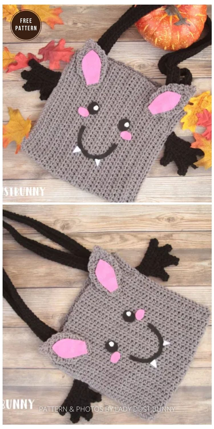 Bat Treat Bag - 9 Free Trick Or Treat Bags Crochet Patterns