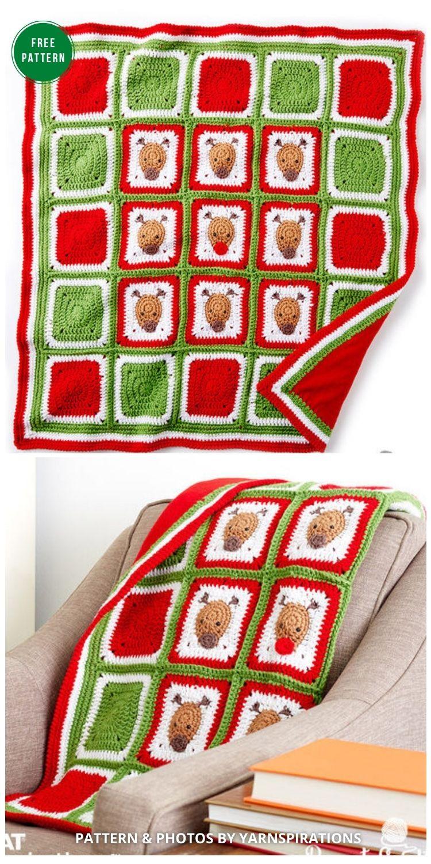 Bernat Crochet Christmas Reindeer Blanket - 8 Free Granny Square Christmas Blankets & Afghans
