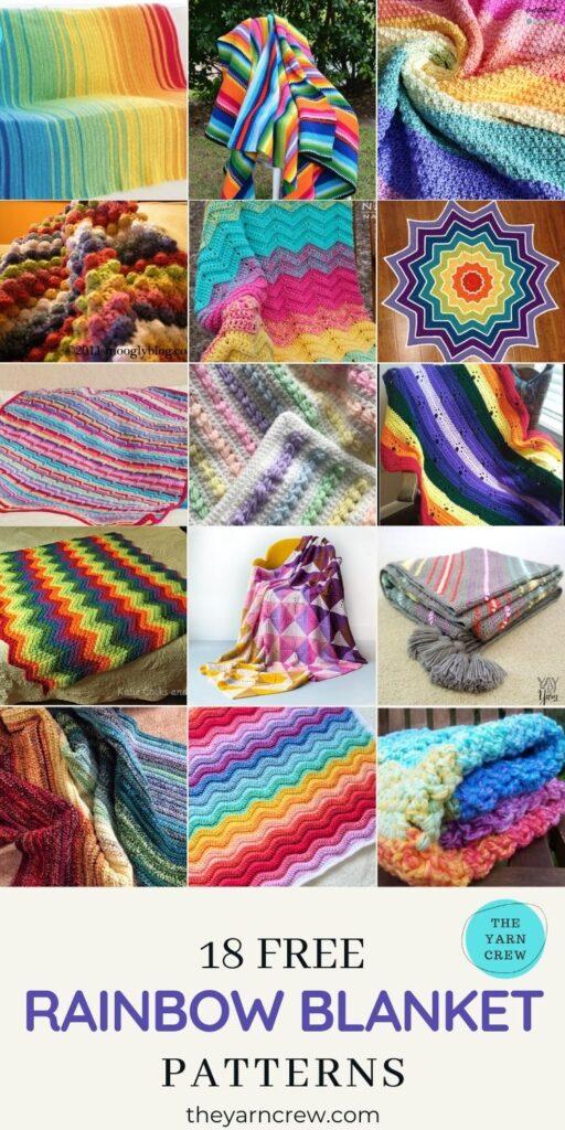 Best 18 Free Adorable Rainbow Blanket Crochet Patterns - PIN2