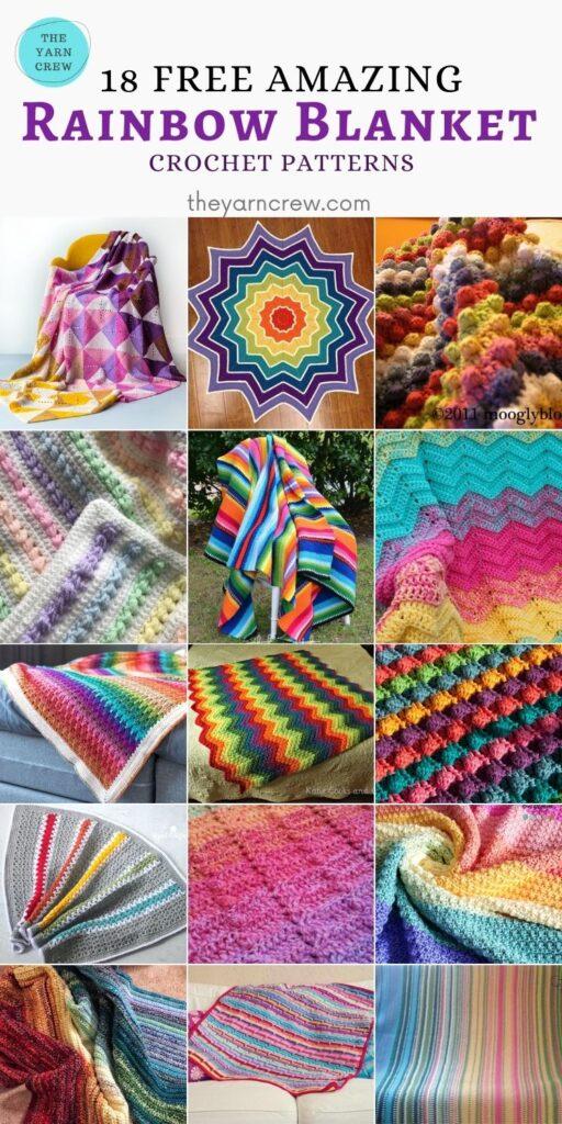 Best 18 Free Amazing Rainbow Blanket Crochet Patterns - PIN3
