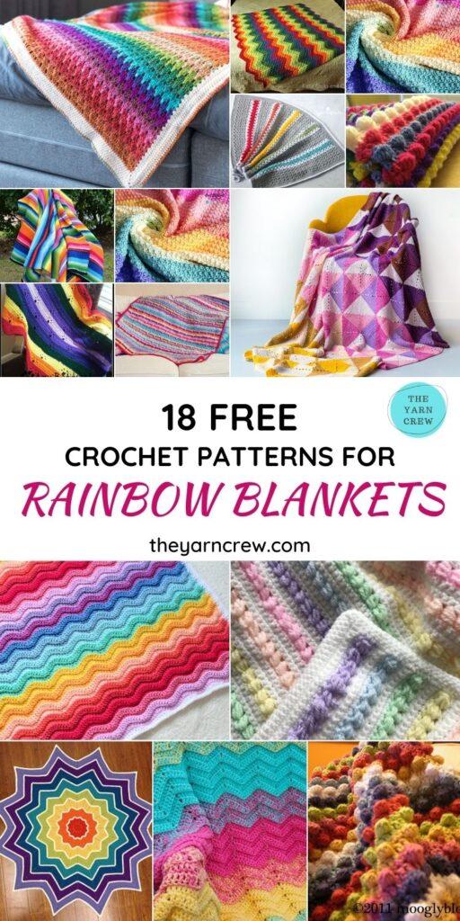 Best 18 Free Cute Rainbow Blanket Crochet Patterns - PINTEREST 1