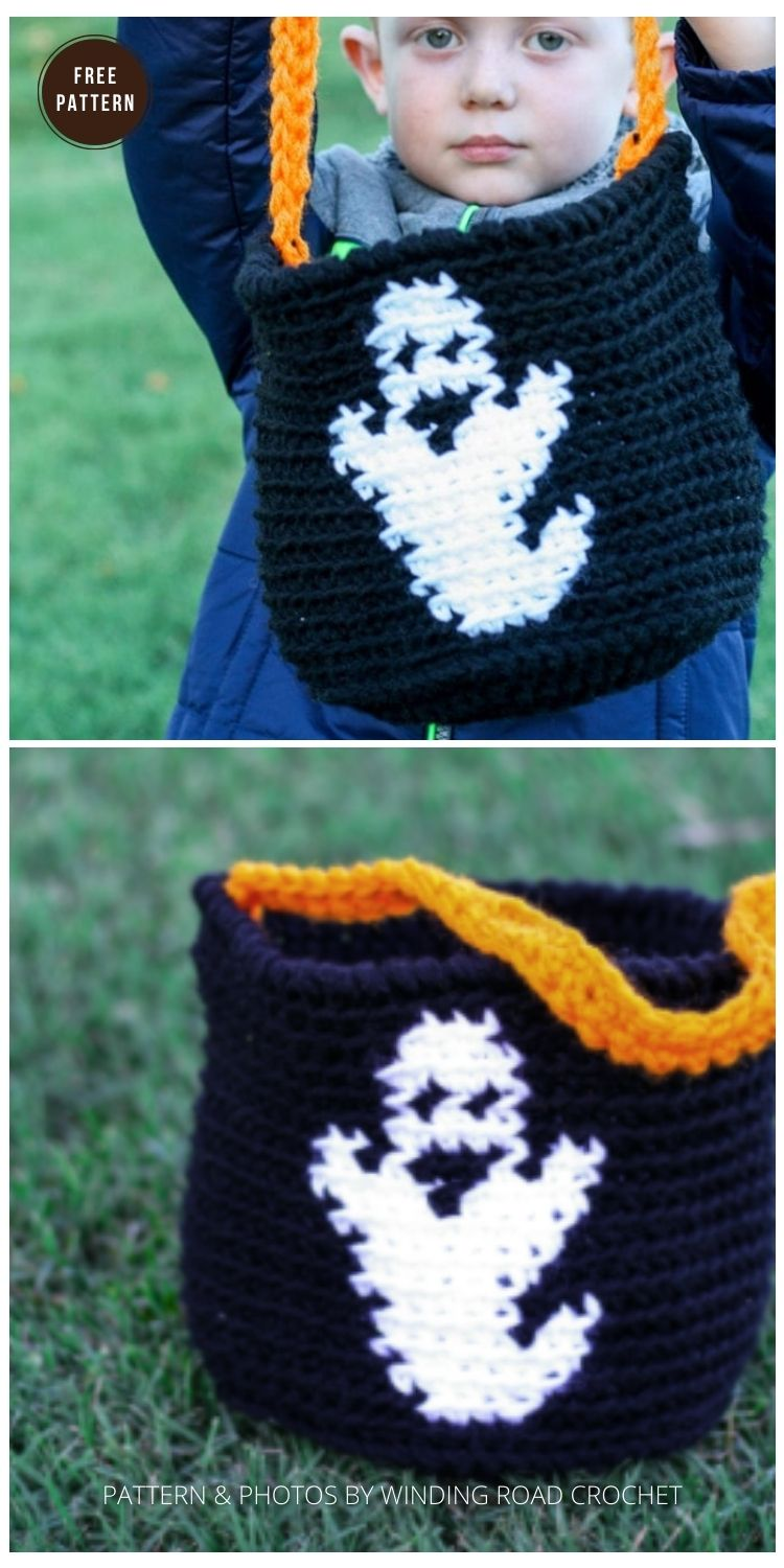 Candy Bucket - 9 Free Trick Or Treat Bags Crochet Patterns