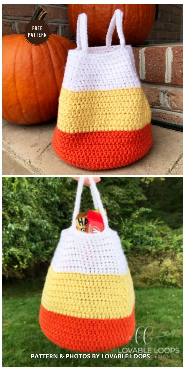 Candy Corn Bag - 9 Free Trick Or Treat Bags Crochet Patterns