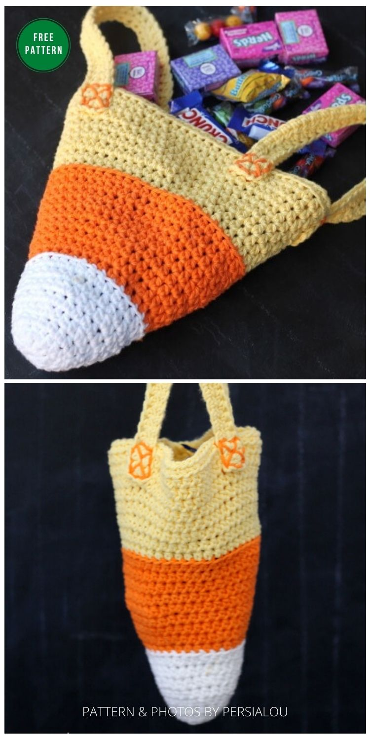 Candy Corn Trick or Treat Bag - 8 Free Crochet Halloween Trick Or Treat Bags