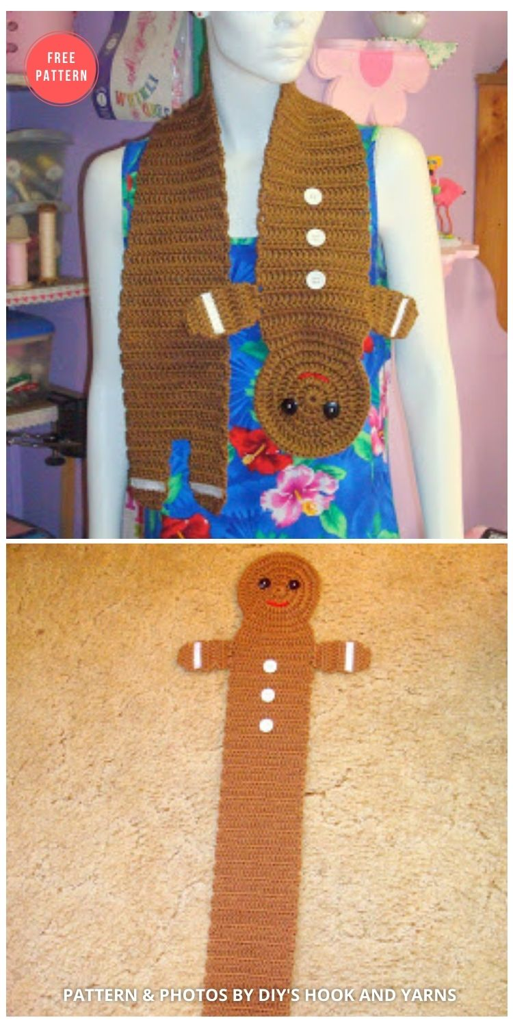 Child's Gingerbread Boy Scarf - 10 FREE GINGERBREAD CROCHET PATTERNS