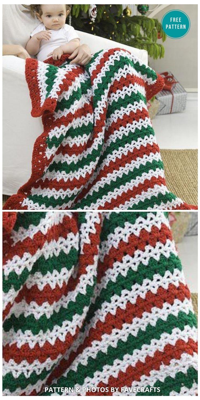 Christmas Striped Throw - 9 Free Crochet Christmas Blankets & Afghans