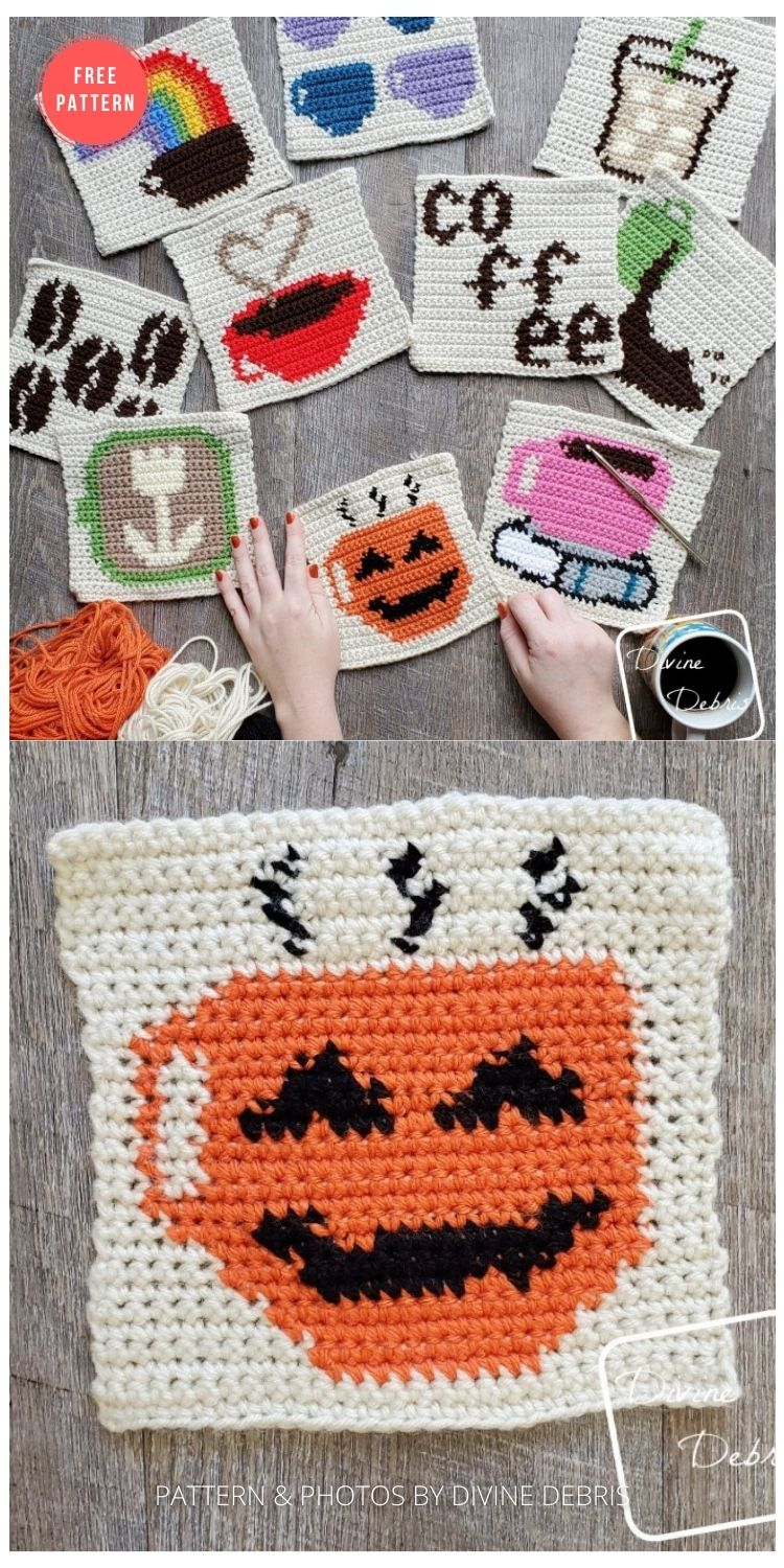 Coffee Tapestry Square Afghan Project - 15 Free Halloween Granny Squares Crochet Patterns