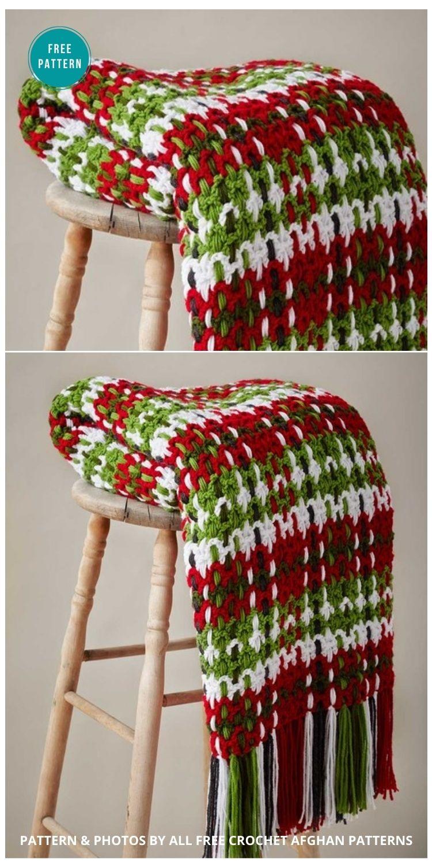 Contemporary Plaid Crochet Afghan Pattern - 9 Free Crochet Christmas Blankets & Afghans