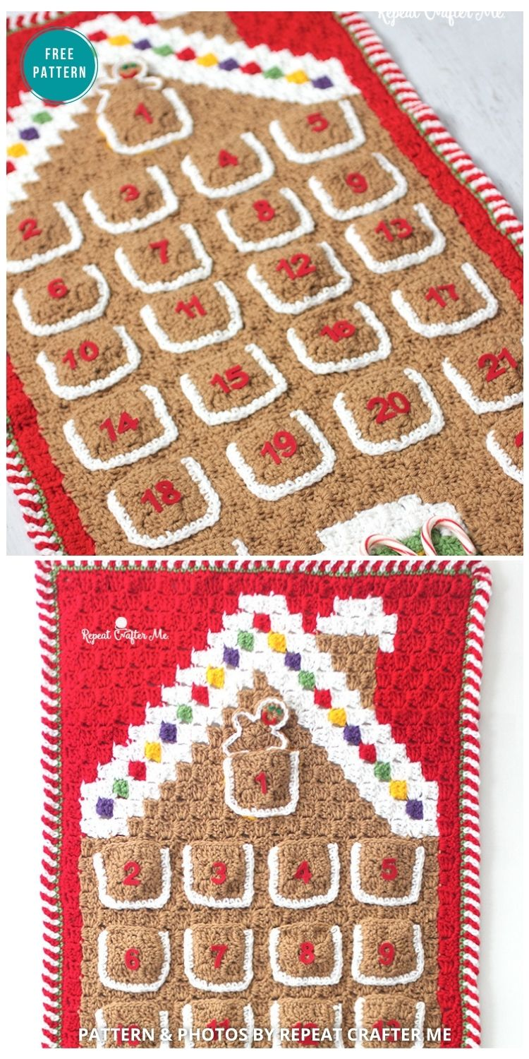 Crochet C2C Gingerbread House Advent Calendar - 10 Free Gingerbread Crochet Patterns For Your Home