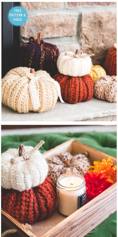 Crochet Country Pumpkins - 18 Free Farmhouse Crochet Pumpkin Patterns PIN