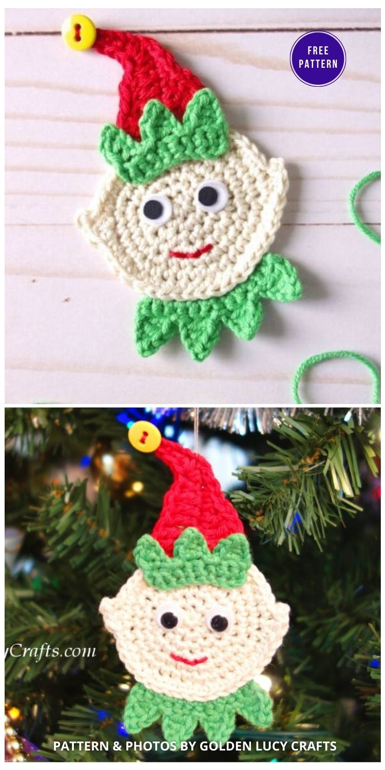 Crochet Elf Ornament or Applique - 9 Free Traditional Christmas Decorations Tree Ornaments PIN