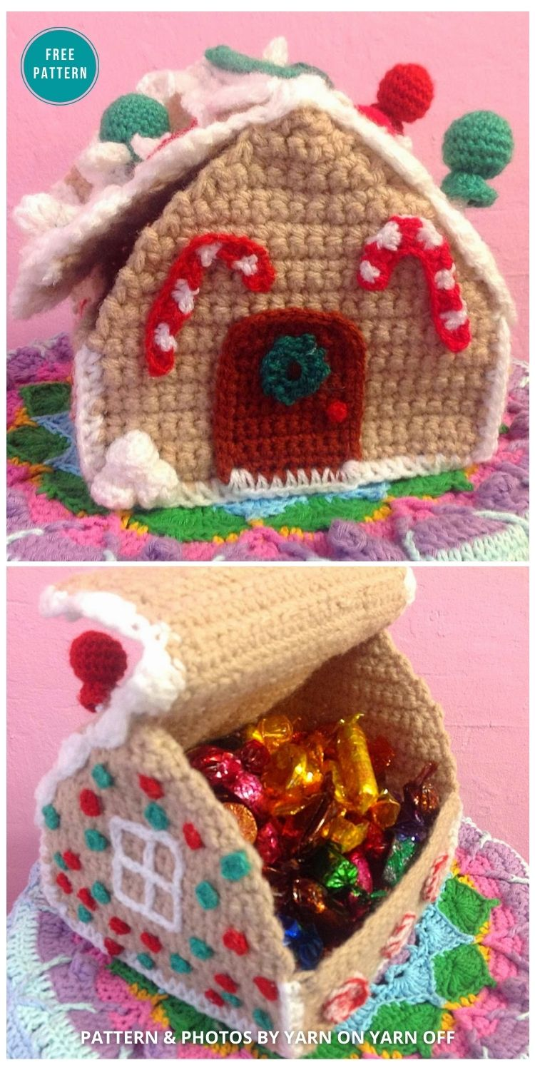 Crochet Gingerbread House box - 10 Free Gingerbread Crochet Patterns For Your Home
