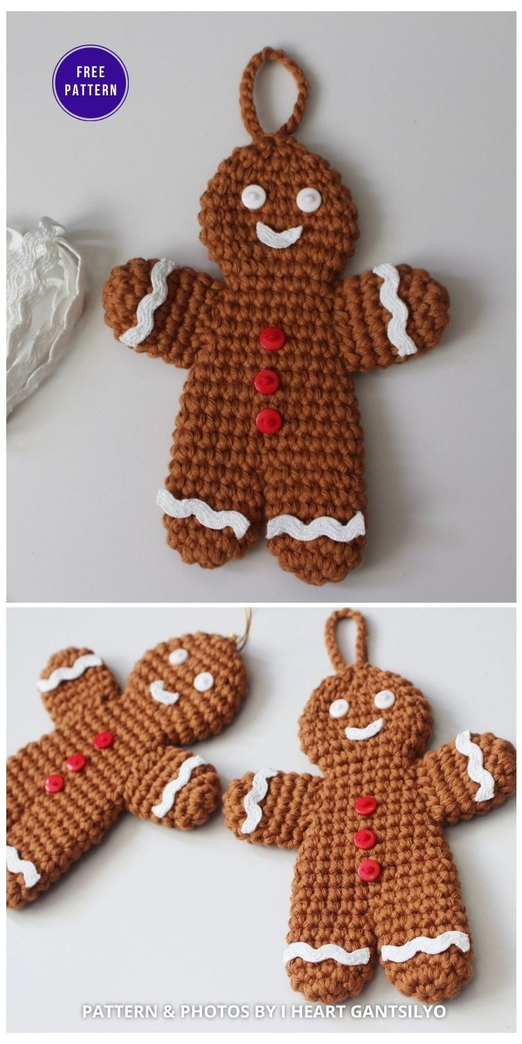 Crochet Gingerbread Man Ornament - 9 Free Traditional Christmas Decorations Tree Ornaments PIN