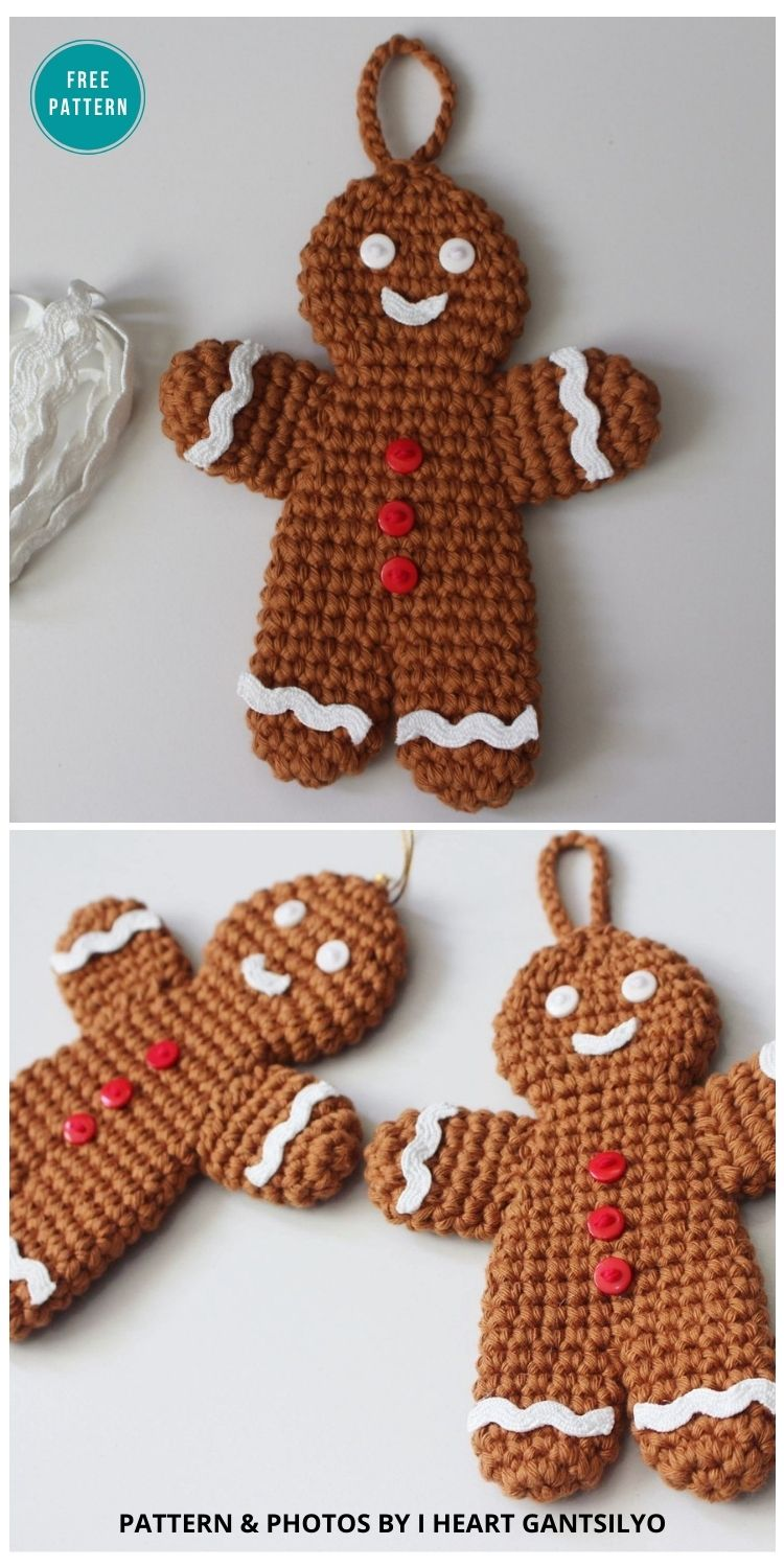 Crochet Gingerbread Man Ornaments - 10 Free Gingerbread Crochet Patterns For Your Home