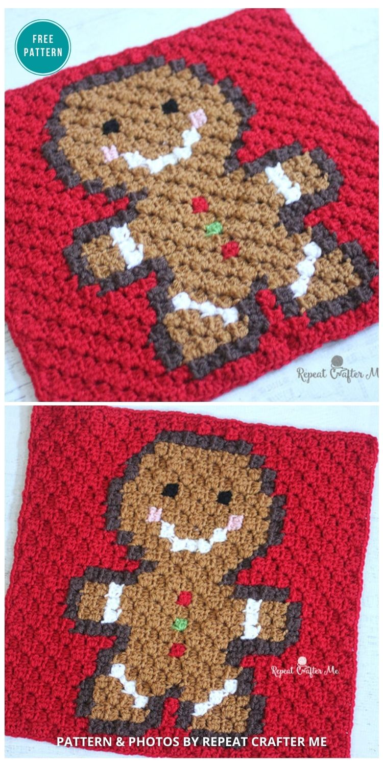 Crochet Gingerbread Man Pixel Square - 10 Free Gingerbread Crochet Patterns For Your Home
