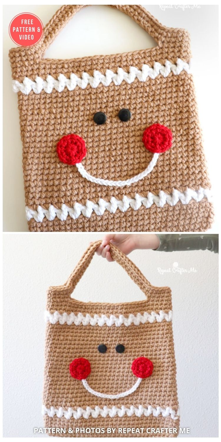 Crochet Gingerbread Tote Bag - 10 FREE GINGERBREAD CROCHET PATTERNS