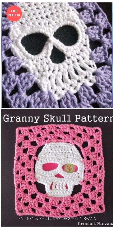 Crochet Granny Skull Pattern - 15 Free Halloween Granny Squares Crochet Patterns