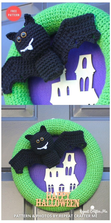 Crochet Halloween Bat Wreath - 10 Free Halloween Wreaths