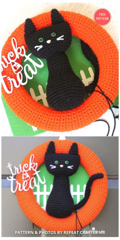 Crochet Halloween Black Cat Wreath - 10 Free Halloween Wreaths
