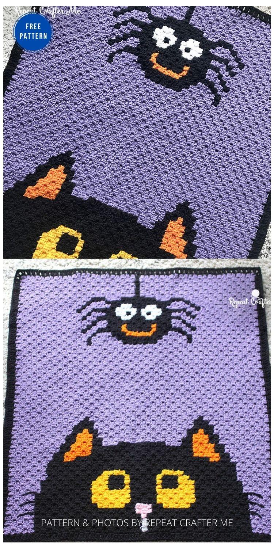 Crochet Halloween c2c Blanket- 9 Free Crochet Halloween Blanket & Afghan Patterns