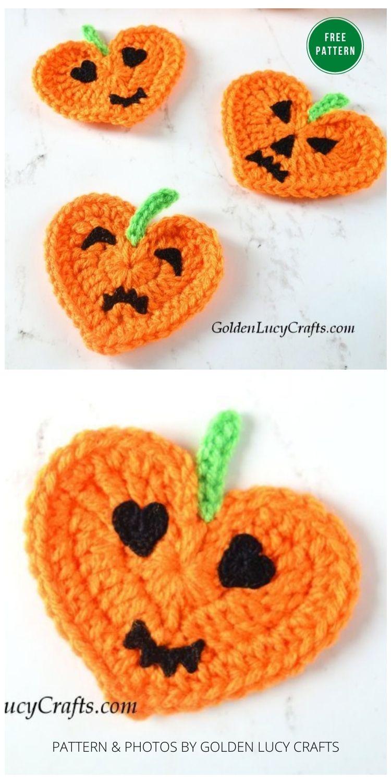 Crochet Heart Pumpkin Jack-O'-Lantern Applique - 13 Free Crochet Pumpkin Patterns For Your Home