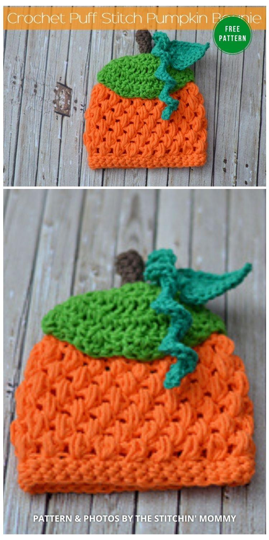 Crochet Puff Stitch Pumpkin Beanie - 9 Free Crochet Pumpkin Patterns For Your Little One