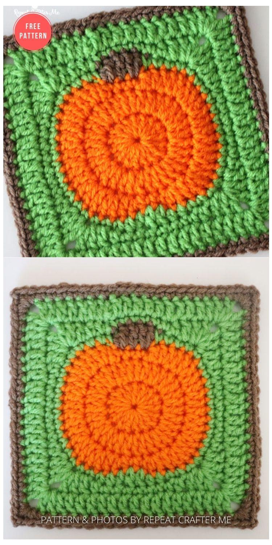 _Crochet Pumpkin Granny Square - 15 Free Halloween Granny Squares Crochet Patterns