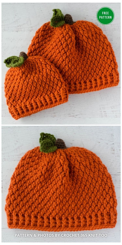 Crochet Pumpkin Hat in All Sizes - 9 Free Crochet Pumpkin Patterns For Your Little One