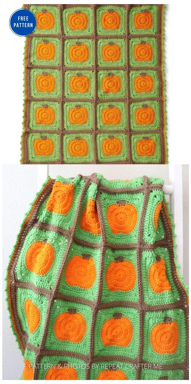 Crochet Pumpkin Patch Blanket - 9 Free Crochet Halloween Blanket & Afghan Patterns