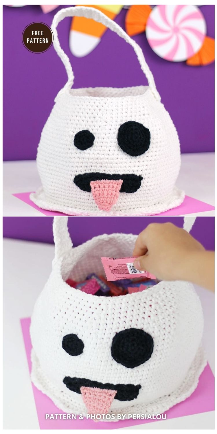 Cute Crochet Emoji Ghost Bag - 9 Free Trick Or Treat Bags Crochet Patterns