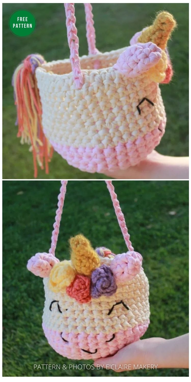Cute Unicorn Crochet Bag - 8 Free Crochet Halloween Trick Or Treat Bags